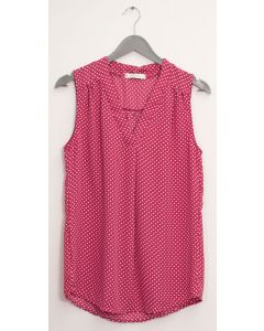 Pleat Front Polka Dot Blouse - Plum