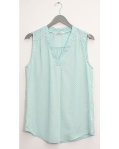 Pleat Front Polka Dot Blouse - Mint