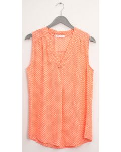 Pleat Front Polka Dot Blouse - Coral