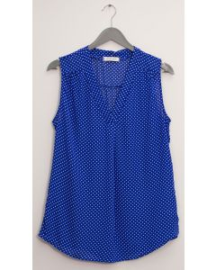 Pleat Front Polka Dot Blouse - Royal