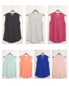 Pleat Front Polka Dot Blouse - Assorted