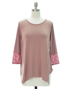 Lace Sleeve Four Point Top - Taupe
