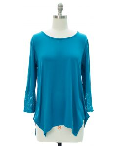 Lace Sleeve Four Point Top - Blue