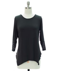 Lace Sleeve Four Point Top - Black