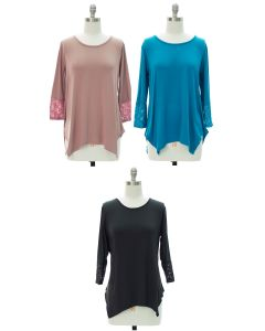 Lace Sleeve Four Point Top - Assorted