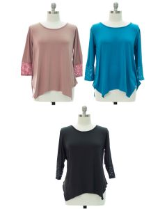 Plus Lace Sleeve Four Point Top - Assorted