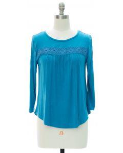 Crochet Stripe Top - Blue