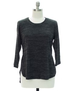 Plus High Low Hacci Top - Black