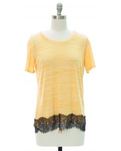 Lace Hem Hacci Top - Yellow