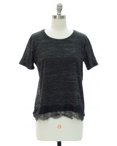 Lace Hem Hacci Top - Black