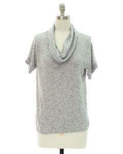 Cowl Neck Hacci Top - Grey