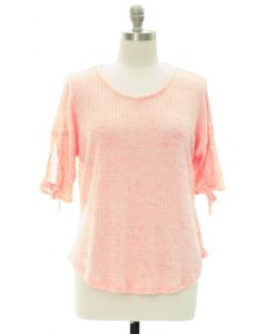 Plus Tie Sleeve Hacci Top - Pink