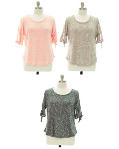 Plus Tie Sleeve Hacci Top - Assorted