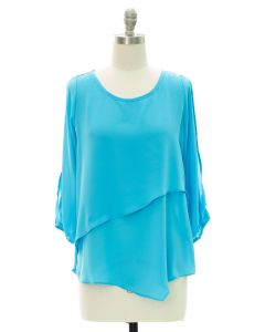 Panel Front Cold Sleeve Blouse - Lime
