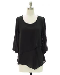 Panel Front Cold Sleeve Blouse - Black