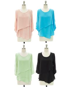 Panel Front Cold Sleeve Blouse - Assorted