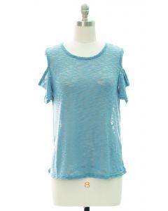 Cold Shoulder Sheer Top - Light Blue