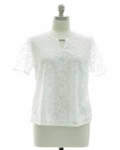Plus Lace Shell Bar Yoke Blouse - White