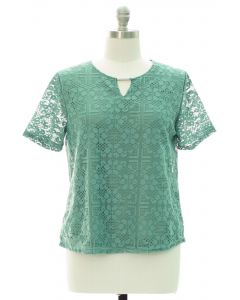 Plus Lace Shell Bar Yoke Blouse - Green