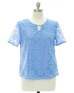 Plus Lace Shell Bar Yoke Blouse - Baby Blue