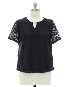 Plus Lace Shell Bar Yoke Blouse - Black