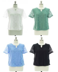 Plus Lace Shell Bar Yoke Blouse - Assorted