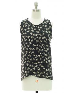 Printed Panel Front Blouse - Black