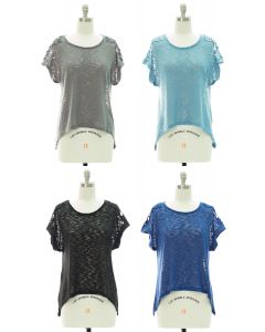 Crochet Shoulder Sheer Top - Assorted