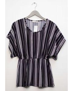 Stripe Smock Waist Top - Black