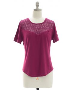 Crochet Yoke Top - Plum