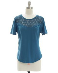 Crochet Yoke Top - Steel Blue