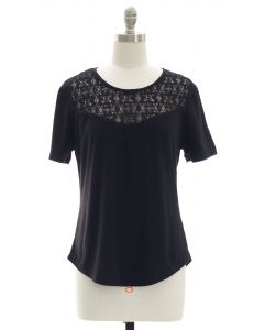 Crochet Yoke Top - Black