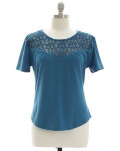 Plus Crochet Yoke Top - Steel Blue