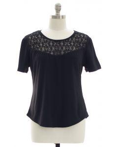 Plus Crochet Yoke Top - Black