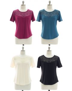 Plus Crochet Yoke Top - Assorted