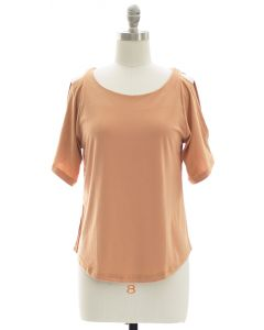 Open Shoulder Solid Shirt - Peach