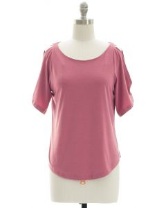 Open Shoulder Solid Shirt - Rouge Pink