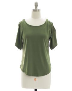 Open Shoulder Solid Shirt - Olive