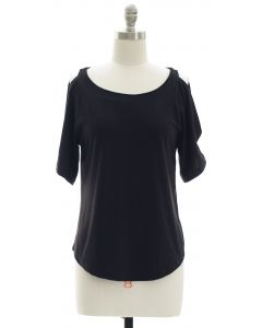 Open Shoulder Solid Shirt - Black