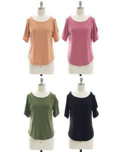 Open Shoulder Solid Shirt - Assorted