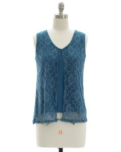 Sleeveless Lace Shell Top - Steel Blue