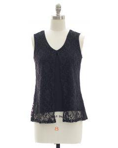 Sleeveless Lace Shell Top - Black
