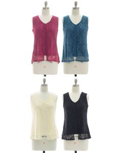 Sleeveless Lace Shell Top - Assorted