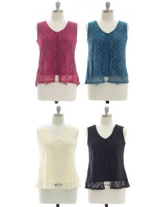 Plus Sleeveless Lace Shell Top - Assorted