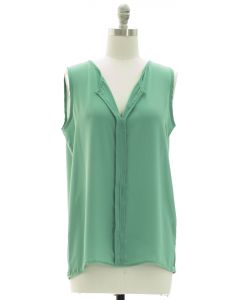 Sleeveless Pleated Front Blouse - Green