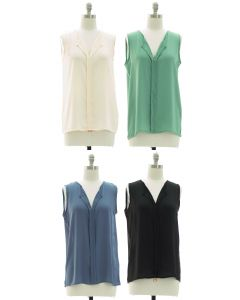 Sleeveless Pleated Front Blouse - Assorted