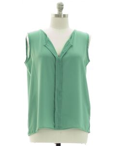 Plus Sleeveless Pleated Front Blouse - Green