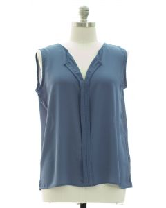 Plus Sleeveless Pleated Front Blouse - Steel Blue