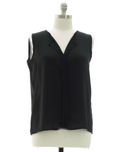 Plus Sleeveless Pleated Front Blouse - Black