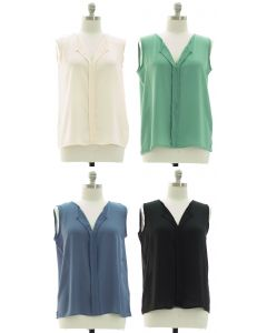 Plus Sleeveless Pleated Front Blouse - Assorted